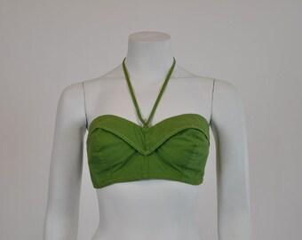 50s bustier / Olive Green / Vintage 50s Strapless Halter Bustier