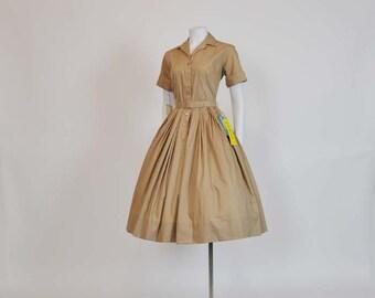 vintage dress / Vintage 1950's Shirt 50s Tan Dress Full Skirt Never Worn