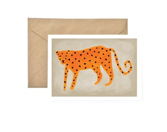 Leopard Card, animal Card, Thank you Card, Birthday Card, Wedding Card Box, Animal Print, Valentine Card, Greeting Card, Bridesmaid Gift