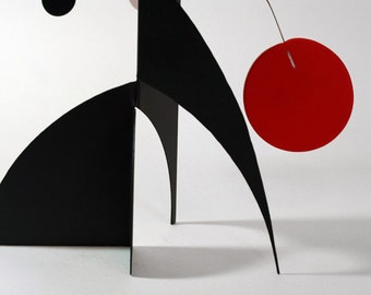 Modern Art Stabile - Desktop Mobile - Mid Century Classic Black Red Sculpture For Tabletop