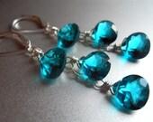 Paraiba Blue Cascade Earrings, Paraiba Blue Quartz, Leverback earrings option, Waterfall earrings, Bright Blue Earrings, gemstone earrings,