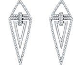Unique Diamond Earrings With 0.33 CT. T.W. In Sterling Silver, Diamond Pyramid Earrings, Triangle Earrings Also Available in White Gold