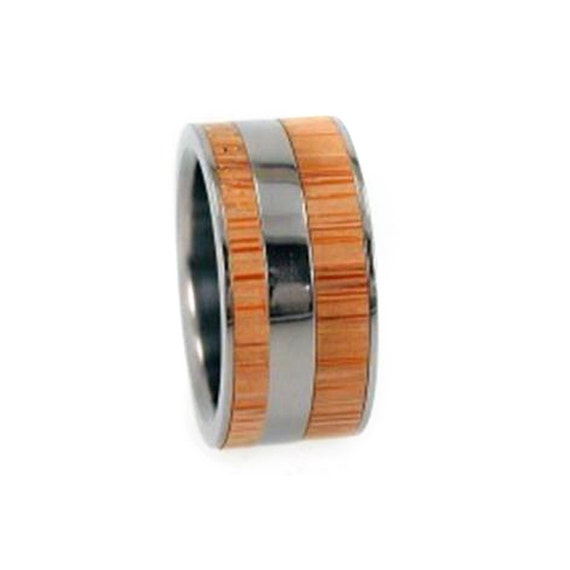 Bamboo Wood Ring, Wood Wedding Band, Titanium Ring, Interchangeable Ring Armor Included, Eco-friendly recycled wood.