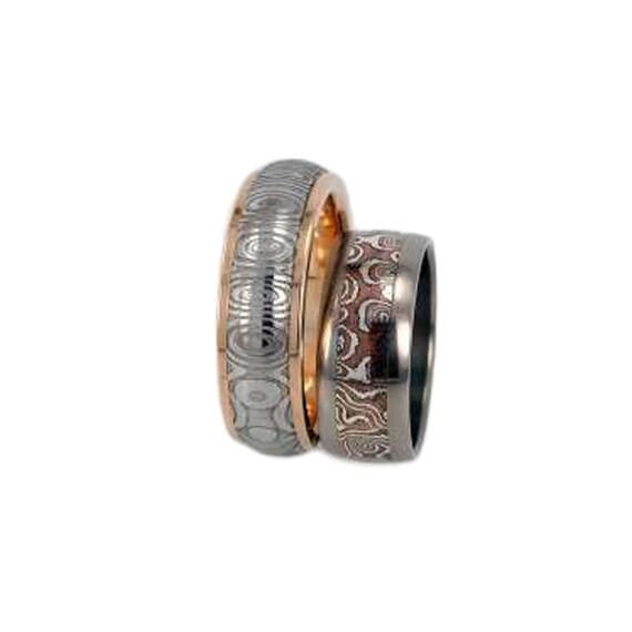 Unique Wedding Ring Set, 14K Yellow Gold Ring, Damascus Stainless Steel, Titanum Ring Mokume Gane