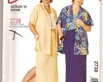 McCall's 2738 Plus Shirt Top Skirt Sewing Pattern Size 18w 20w 22w 24w UNCUT