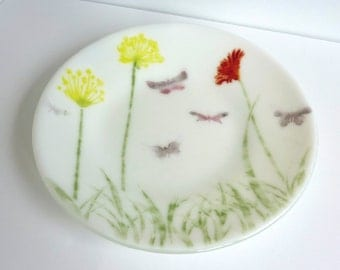 White Fused Glass Dish or Bowl with Flowers and Butterflies by BPRDesigns
