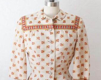 Social club silk blouse | vintage 1950s blouse | 50s paisley blouse