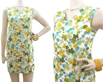 Vintage 60s Dress MOD Floral Daisy Mini Shift S