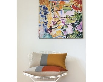 Colorblock Pillow Cover in Burnt Orange, Stone Grey & Natural Linen Stripes (12x20) by JillianReneDecor - Modern Home Decor