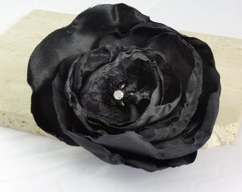 Black Wedding Hair Flower, Bridal Accessories, Bridesmaid Flower, Wedding Accessories, Black Hair Flower  Made To Order- SABLE