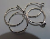 Tiny Sterling Silver Hoops, Two Pair