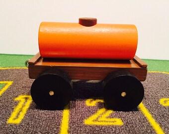 Toy Train Tanker Car Brown and Orange - Handcrafted Wooden Toy Train Tanker Car Brown and Orange