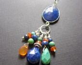 Long Lapis Gemstone Charm Necklace, Boho Charm Necklace, MultiStone Necklace, Southwest Necklace, Sterling Silver