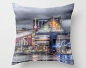 Baltimore Throw Pillow, Inner Harbor Pillow, 16x16, 18x18, 20x20, Photo pillow, Decorative Throw Pillow Cover, Cushion, Landscape Pillow, MD
