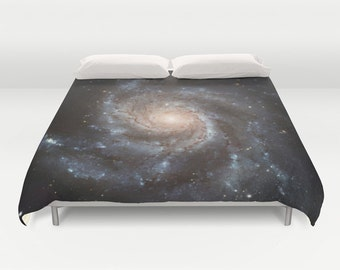 Spiral Galaxy Duvet Cover, Black Decorative bedding, unique design, Space comforter cover, Noir, Goth, Messier 77, Nature, Planets Stars