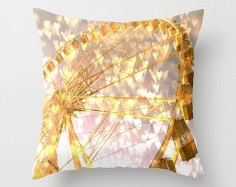 Ferris Wheel Throw Pillow, 16x16, 18x18, 20x20, Love Decorative Pillow, Cover, Cushion, Wedding Gift, Heart Pillow, Bokeh Pillow, Romantic