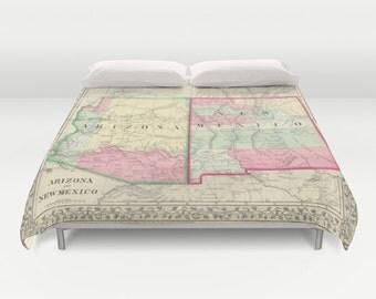 Antique New Mexico - Arizona Map Duvet Cover, Vintage New Mexico Arizona Map Bedding, Old Map Bedspread, Decorative,New Mexico Arizona decor