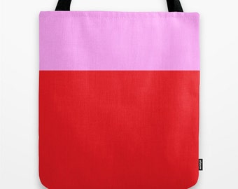 Red Pink Tote Bag, 13x13, 16x16, 18x18, Colorblock Tote, Beach Tote, Lunch Tote Bag, Market Tote, Contemporary Tote,Teen Tote, Canvas Bag