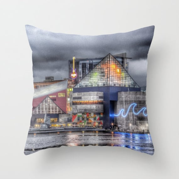 Baltimore Throw Pillow, Inner Harbor Pillow, 16x16, 18x18, 20x20, Photo pillow, Decorative Throw Pillow Cover, Cushion, Landscape Pillow, MD