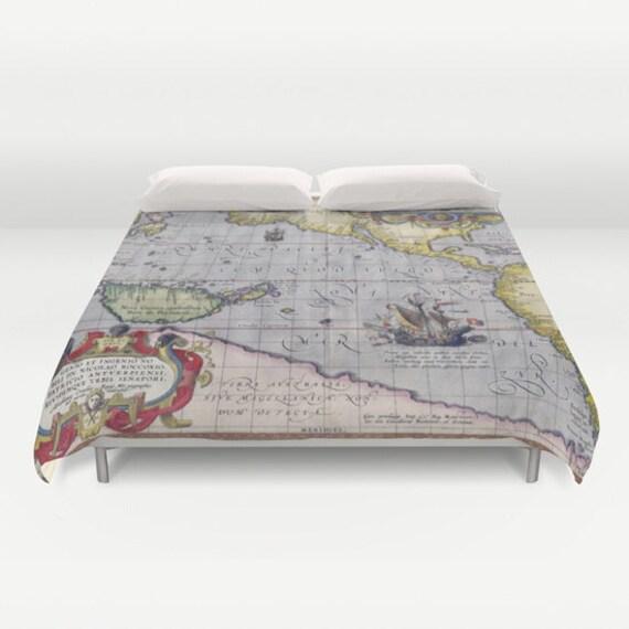 Antique World Map Duvet Cover Vintage World Map Bedding Old