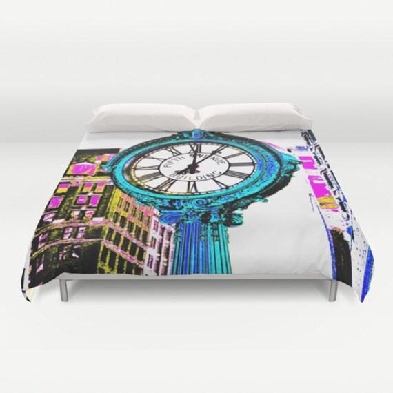 Fifth Avenue Building Clock New York Bedding, Manhattan Duvet Cover, Decorative bedding, Pixels design, modern, urban comforter cover, Clock