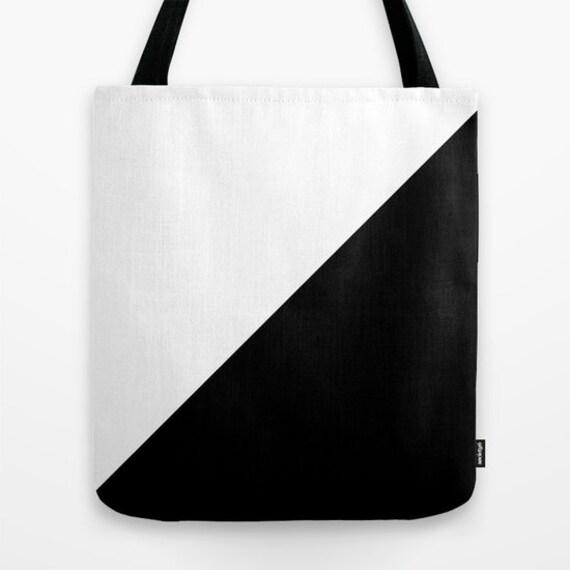 Black White Tote Bag, 13x13, 16x16,18x18, Color Block Tote, Beach Tote, Lunch Tote Bag, Market Tote, Contemporary Tote,Teen Tote, Canvas Bag