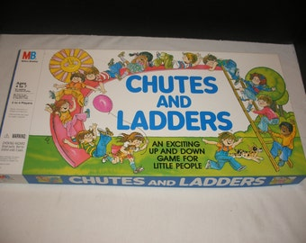 Vintage Chutes and Ladders Board Game Milton Bradley 1978 100% Complete Mint Condition Classic Retro Game