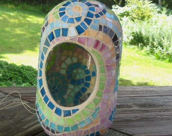 Multi Color Stained Glass Mosaic Hanging Oblong Globe