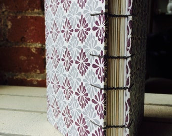 Handmade sketchbook/journal with purple and gray damask pattern