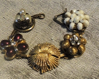 """Old Hollywood Vintage charm  bracelet with antique brass setting  7 1/2"""""""