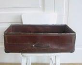 Vintage Industrial Box Bin Mail Brown Red Metal Storage Military