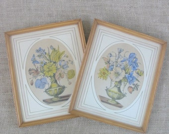 Vintage Pair Floral Prints Shabby Cottage Chic Flowers