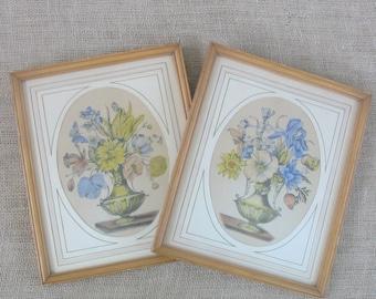 Vintage Pair Floral Prints Shabby Cottage Chic Flowers