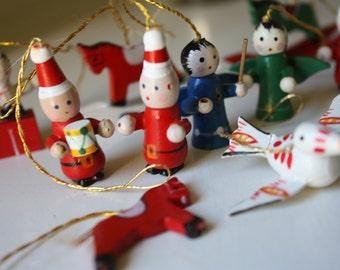 Set of Eleven MiniatureWooden Ornaments