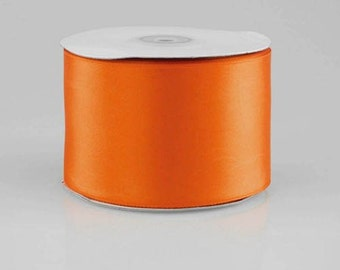 "5 yards of 2-1/4"" Double Face Satin - Orange  or Your Choice of 17 colors"