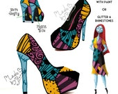 Nightmare Before Christmas | SALLY themed design for heels / wedges / flats / boots | Glitter or paint