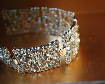 Victorian style vintage 70s rhodium, chunky  panels links ,filigree, lace style  bracelet. Size 7 1/4