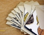 Blank Mini Card Set of 10, Fall Leaf Pattern with Contrasting Design on the Inside, Metallic Taupe Envelopes, mad4plaid