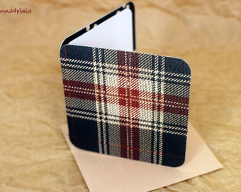 Blank Mini Holiday Set of 10 Cards, Holiday Palid Design with Contrasting Pattern on the Inside, Latte Envelopes, mad4plaid