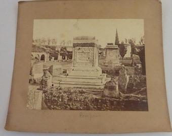 Antique Sepia Photograph of Ruins in Pompeii Italy