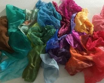 Silk Treasure Bag - Color wheel, silk scraps