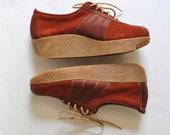 1970s Mason Brand Shoes New in Box Brown Leather Platform Gum Sole Women's Size 7