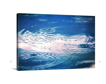 Art on Canvas, Indigo Art, Water Picture, Blue Art, Raindrops, Water Ripples, Rain Photo, Storms, Water Art, Canvas Wrap, Art for Bedroom