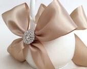 Champagne Flower Girl Basket with Rhinestone Accents - Satin Flower Girl Basket - Bow Flower Girl Basket