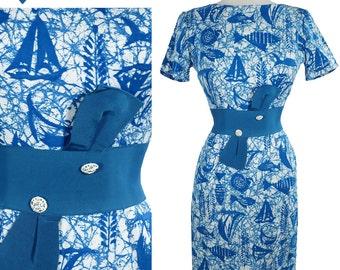 Vintage 50s 60s Blue Tiki Tropical Fish HAWAIIAN Sheath Dress S Rockabilly PINUP