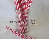 Paper Straws, Hot Pink Paper Straws, Pink Straws, Cake Pop Sticks, Mason Jar Straws, Farm Party, Birthday Party, Drinking Straws Pack 25