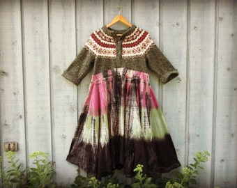 Purple Green Tie Dyed Peasant Sweater Dress// Large// Upcycled// emmevielle
