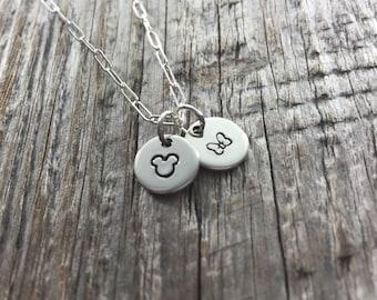 The Dainty Mice - Sterling Silver Necklace - Mickey Mouse Necklace - Disney Fan - Disney Mom