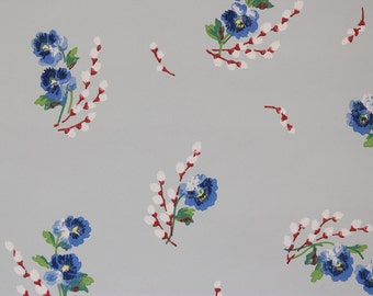 1940s Vintage Wallpaper Pretty Blue Pansies on Blue by the Yard