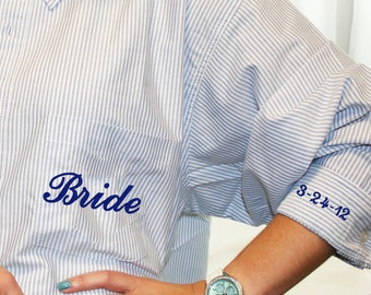 "Blue Stripe Oversized Button Down Mens Shirt Monogram with ""I do"" and Wedding Date on cuffs"